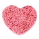 Fluff Heart Shape Chenille Small Carpet Non-slip Door Ground Mat   pink