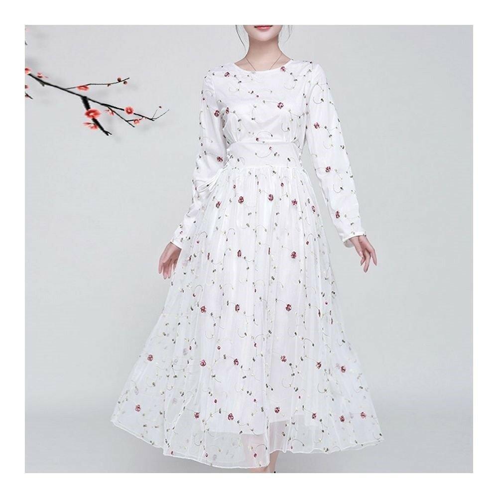 Long Sleeve Lace Embroidery Big Peplum Big Peplum   white pink  S