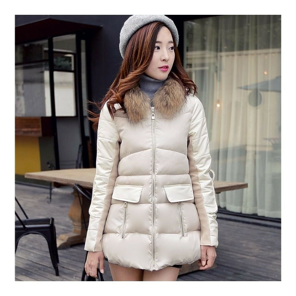 Winter Woman Middle Long Slim Hoodied Fur Collar Cotton Coat   beige