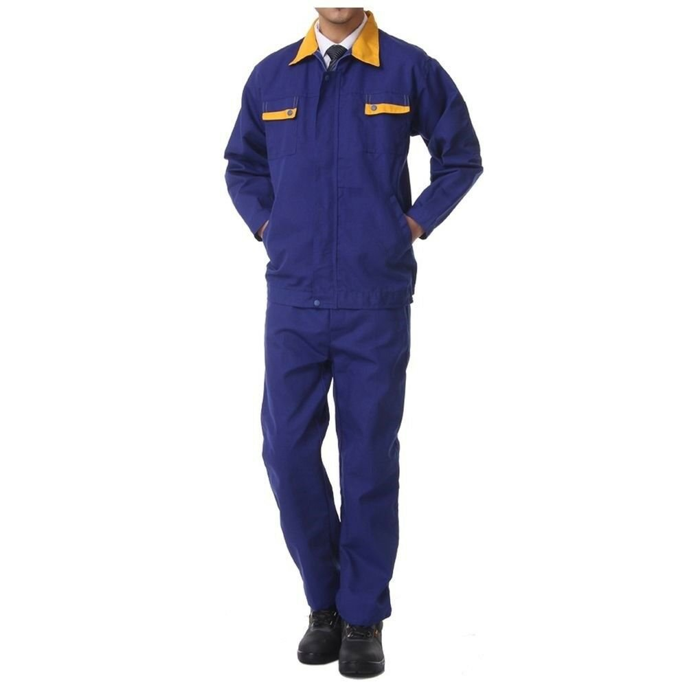 Working Protective Gear Uniform Suit Canvas Garage  blue with yellow  170