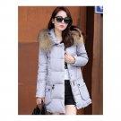 Winter Woman Fur Collar Down Coat Middle Long Warm   light grey