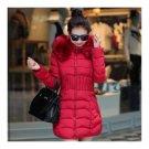 Winter Cotton Coat Woman Middle Long Slim Fur Collar   wine red   L