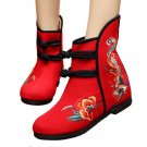 Vintage Beijing Cloth Shoes Embroidered Boots 12-01   red with cotton  35