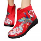 Colorful Phoenix Vintage Beijing Cloth Shoes Embroidered Boots red 35