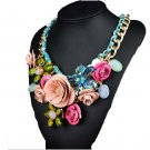Ornament Crystal Flower Woman Necklace Woman Short Sweater Necklace    pink and