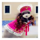 Dog Pet Clothes Cloak Wig Hat Suit  PF18 rose red
