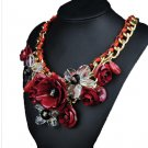 Ornament Crystal Flower Woman Necklace Woman Short Sweater Necklace    dark rose