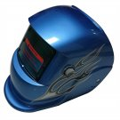 Auto Darkening Welding Mask in Glossy Blue Shade with Amazing Graphic Design