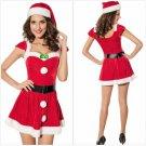 Adult Women Christmas Red Santa Claus Velvet Costume Outfit Fancy Dress Fur Hat
