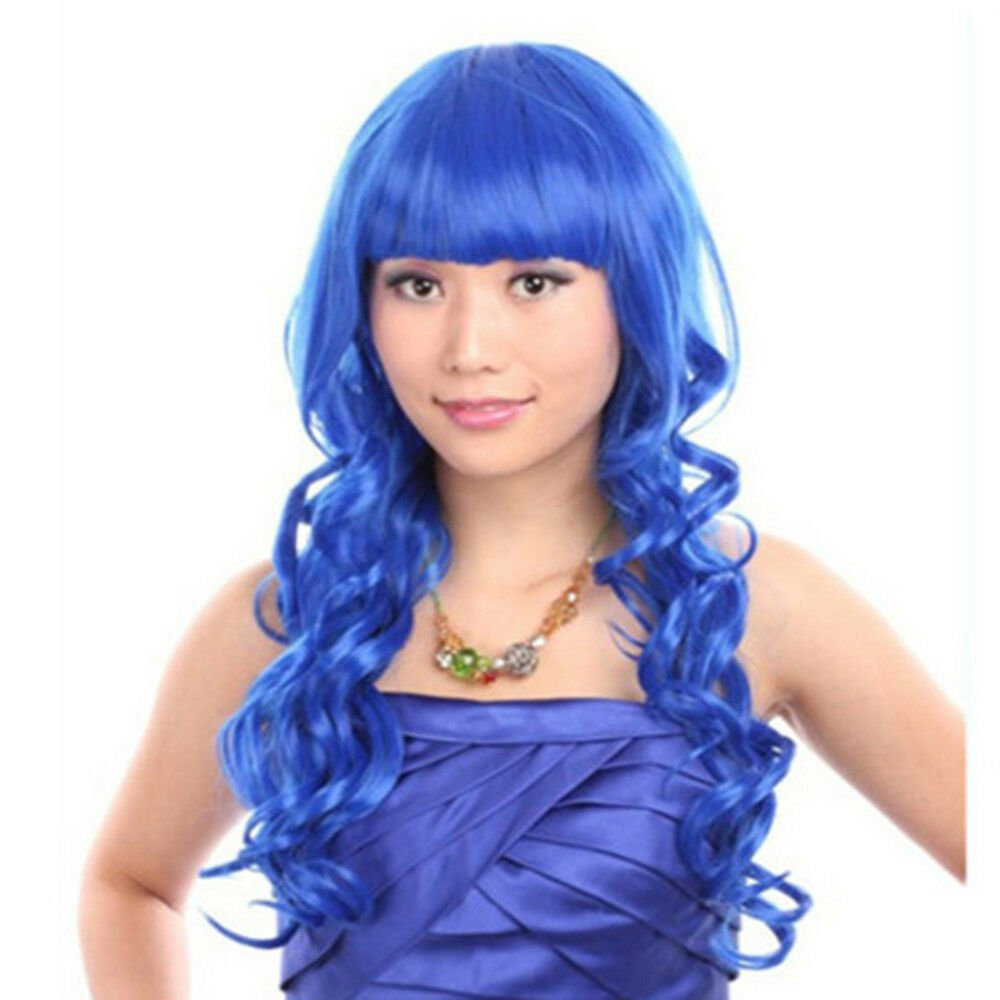 60cm Long Curly Front Lace Cosplay Party one piece Hair cap Wig  Sapphire Blue