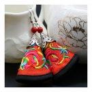 Cloth Embroidery Long Earrings Stylish   orange