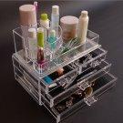 Clear Acrylic Makeup Cosmetics Jewelry Organizer 3 Drawers Display Box Storage