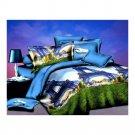 3D Flower Bed Quilt/Duvet Sheet Cover 4PC Set Cotton Sanded 038