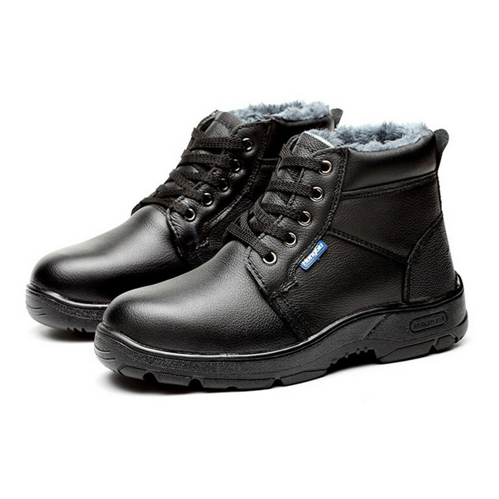 MENS' Work Safety Shoes Cow Leather Smash-proof Penetration-resistant High cut