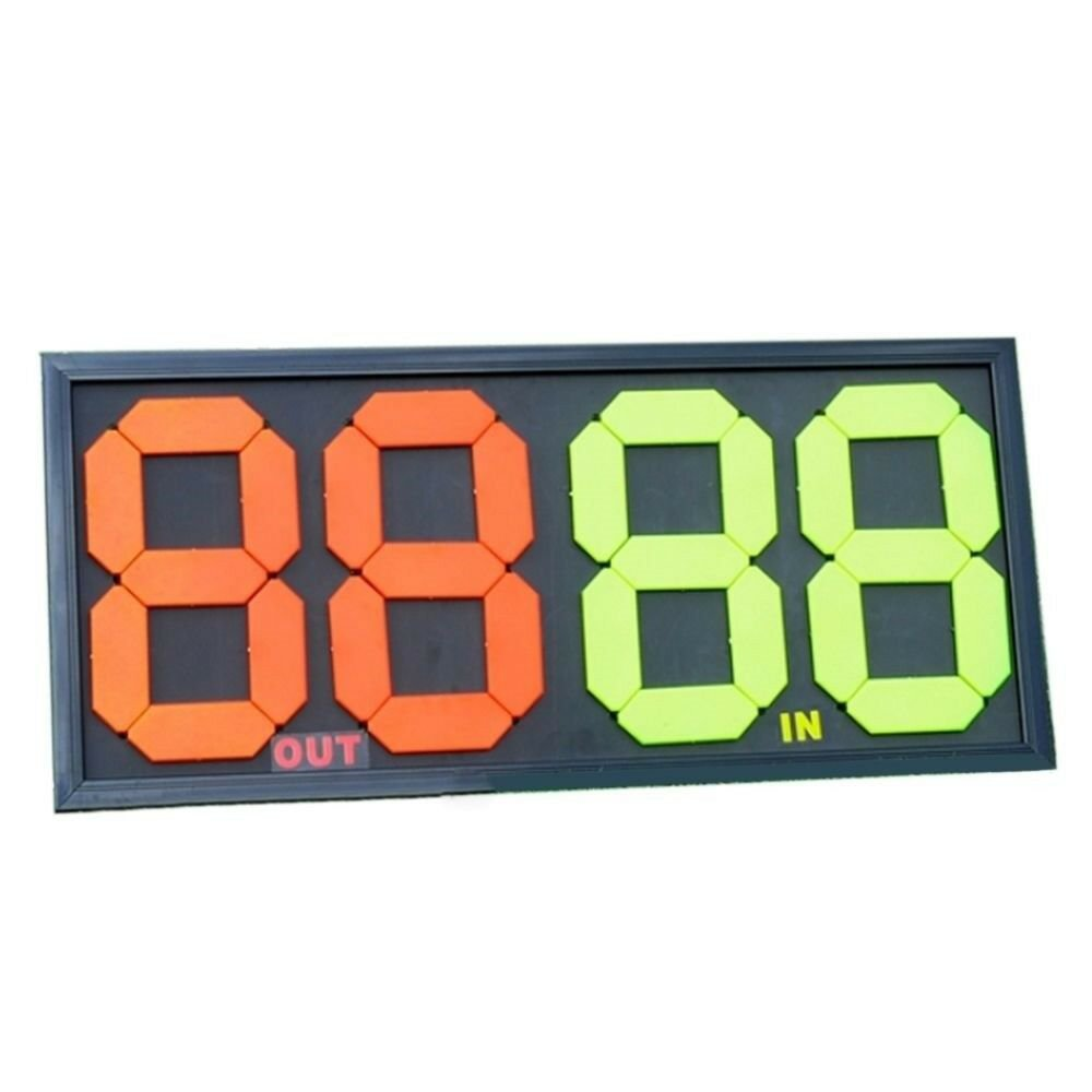 Soccer Football Substitution Card Double Side Display 4-digits  orange+green