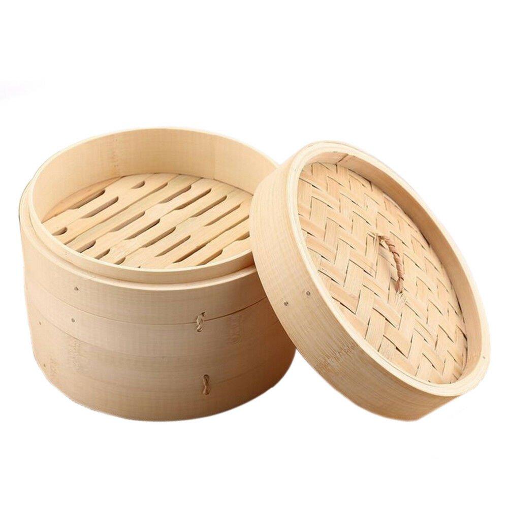 6.5 inch Bamboo Basket Steamer Chinese Dim Sum Rice Pasta Cooker Set