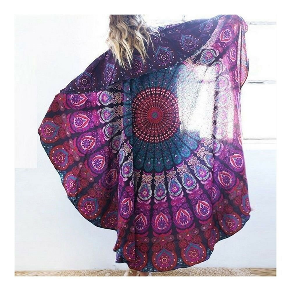 Round Tassel Knitted Beach Towel Lantern Towel Chiffon   purple
