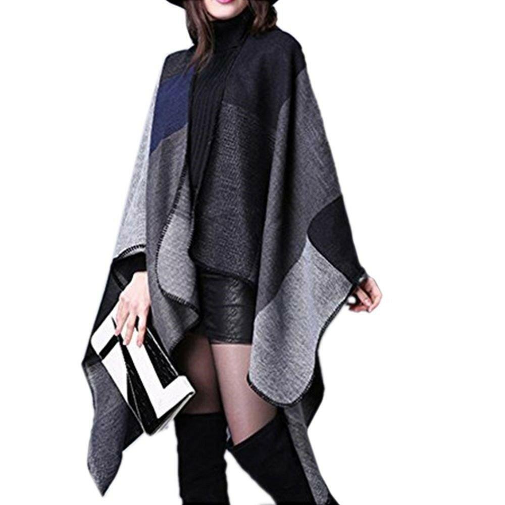 Super Big Thick Warm Checks Tippet Scarf Cloak    black