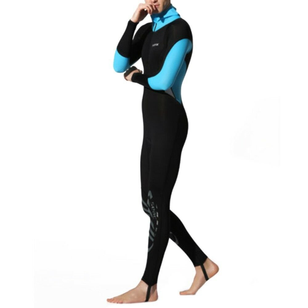 S016S017S018 One-piece Diving Suit Wetsuit Surfing   light blue hooded printed