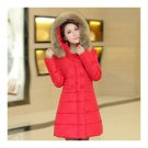 Plus Size Fur Collar Slim Thick Down Coat   red