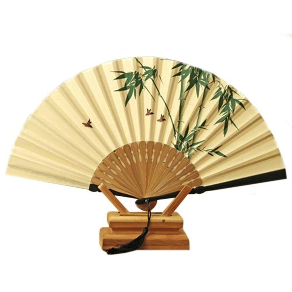 Folding Fan Gentleman Cotton Cloth   bamboo magpie