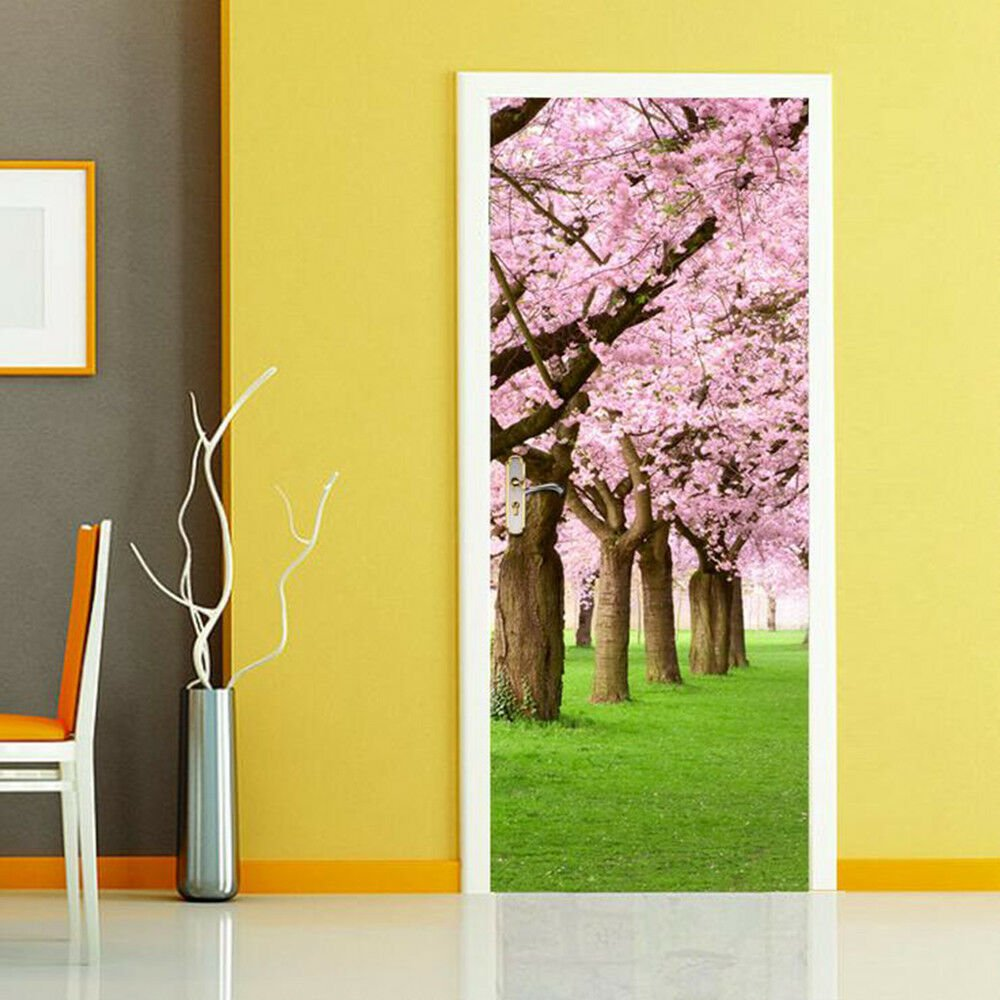 New 3D DIY PVC Waterproof  Door Wall Sticker Sakura Tree qd009