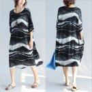 Fashion Black Wave Pattern Oversized Tunic Casual Dress