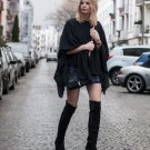 Street Style Black Asymmetrical Draped Cotton Cape Kaftan Top