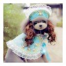 Dog Pet Clothes Cloak Wig Hat Suit   PF17 blue