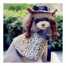 Dog Pet Clothes Cloak Wig Hat Suit  PF16 leopard print