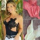 Explosion Models Lace Straps Wrapped Chest Stitching Gauze Shirt black M