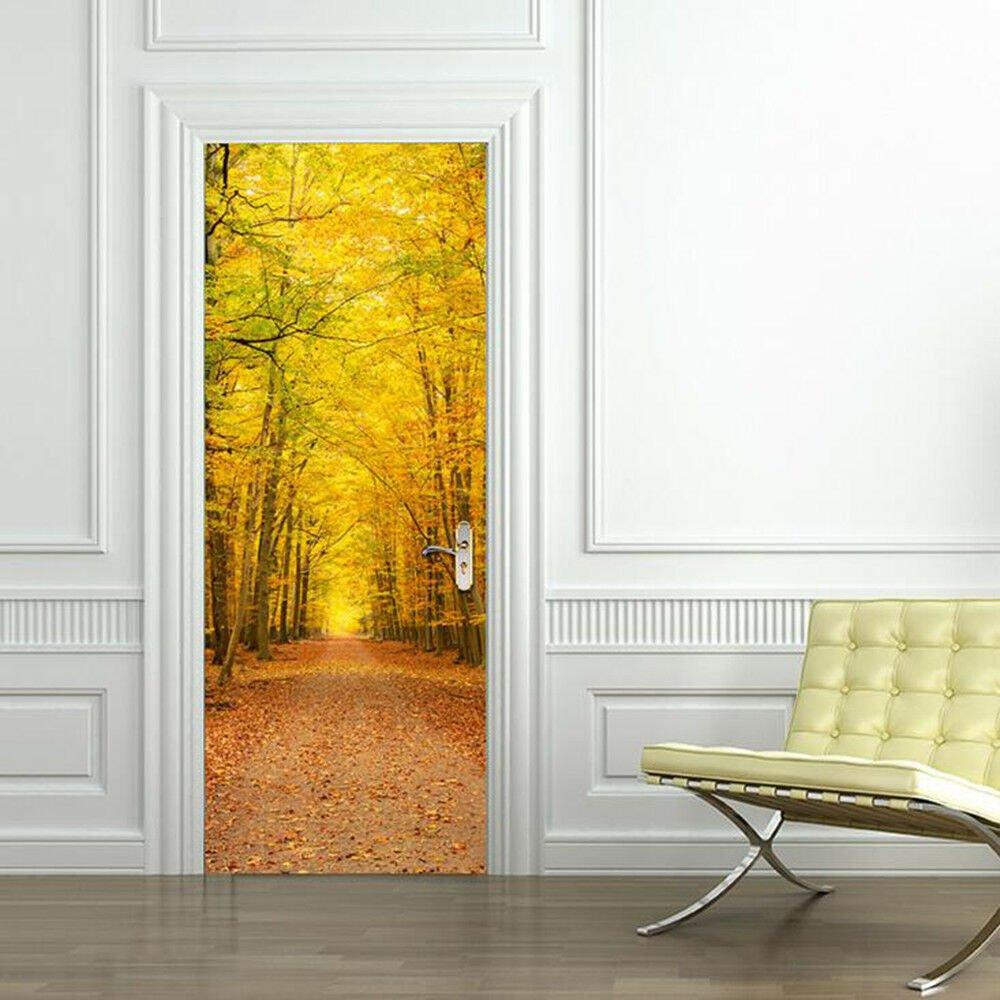 Door Sticker New 3D DIY PVC Waterproof  Door Wall Mural Fall View qd023