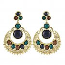 Ethnic Colorful Alloy diamond crescent earrings   COFFEE+BLUE