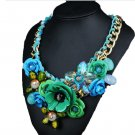 Ornament Crystal Flower Woman Necklace Woman Short Sweater Necklace   green