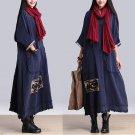 Blue Linen Woven Cloth Patch Oversized Baggy Tunic Dress