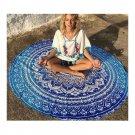 Chiffon Round Tassel Knitted Beach Towel Lantern Towel   blue