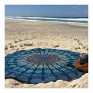 Round Tassel Knitted Beach Towel Lantern Towel Chiffon    blue