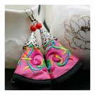 Cloth Embroidery Long Earrings Stylish  pink