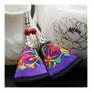 Cloth Embroidery Long Earrings Stylish  purple