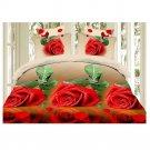 3D Active Printing Bed Quilt Duvet Sheet Cover 4PC Set Upscale Cotton 012