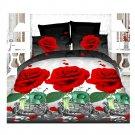 3D Active Printing Bed Quilt Duvet Sheet Cover 4PC Set Upscale Cotton 016