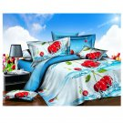 3D Active Printing Bed Quilt Duvet Sheet Cover 4PC Set Upscale Cotton 021
