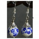National Style Flower Earring Blue-and-white Porcelain Pear 925 Silver