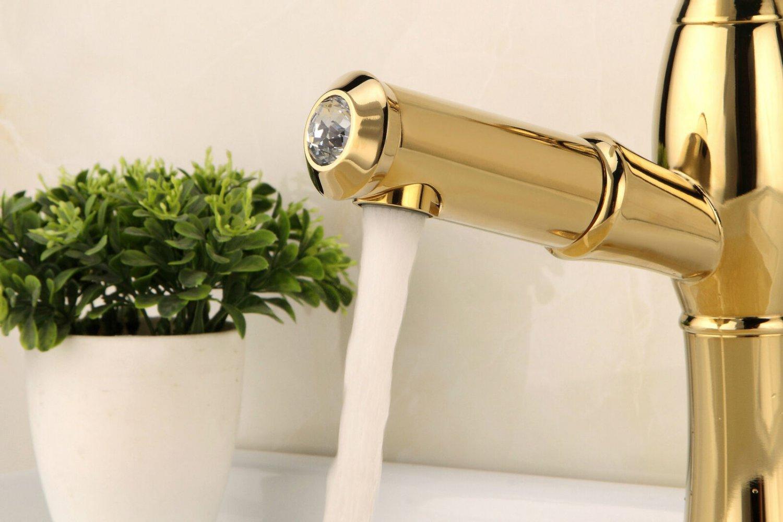 New full copper kitchen faucet pull golden basin faucet basin faucet