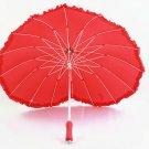 Fiber lace heart-shaped creative umbrella sunshade umbrella straight shank Art