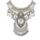 Fashionable Exaggerated Crystal Cloth Decoration Necklace  Galvanized Short Clav