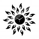 Acrylic Sunflower Mirror Living Room Wall Clock   black