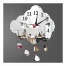 Creative 3D Silent Wall Clock Sticking Raindrop Mirror   silver