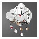 Creative 3D Silent Wall Clock Sticking Raindrop Mirror   silver