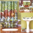 Horse print women Waterproof Bathroom Fabric Shower Curtain Liner 12 Hooks